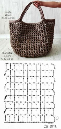 Make and sell: Mesh yarn bag with gráfico Front-facing dot chart . - Make and sell: Mesh yarn bag with dot plot ⋆ Facing The Sea – – - Crochet Diy, Crochet Tote, Crochet Handbags, Crochet Purses, Love Crochet, Crochet Crafts, Crochet Stitches, Crochet Projects, Crochet Patterns