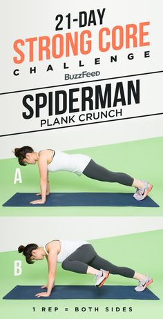 And here's how to do a spiderman plank crunch: