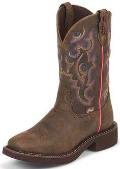 Justin Womens Gypsy Square Toe Boots - Barnwood Brown Buffalo $112.00