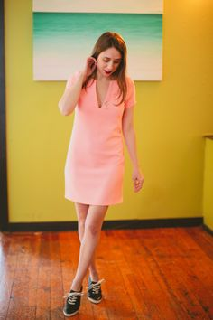 #frye sneakers and Peach Pop Shift Dress on the Minx blog today!