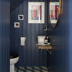 Loo under the stairs: love the navy tongue and groove and the basin on the…