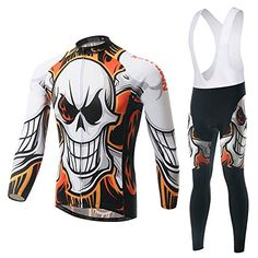 Cycling Set Men Long Sleeve Jersey and Pants Wtih Pad Skull Pattern  Anti-sweat Bicicleta Bicycle Set Road MTB Jersey Ciclismo 67a9685bcd653