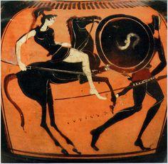 Amazone. Amphore à figures noires (black-figure pottery), Ve siècle avant J.-C. Musée du Louvre (RMN, cliché Hervé Lexandowsky).