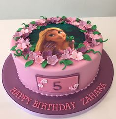 Tangled Rapunzel edible image birthday cake