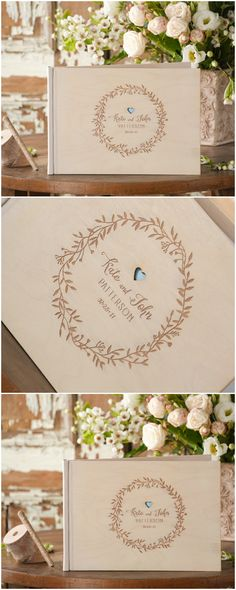 Wedding Wooden Guest Book with custom engraving #wood #rustic #boho #engraved #weddingideas #wreath #weddingbook
