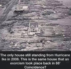 Discover the paranormal story of the last house standing and its past exorcism history which helped it not to be destroyed during Hurricane Ike in 2008 Creepy Stories, Ghost Stories, Horror Stories, Strange Stories, Horror Films, Creepy Facts, Wtf Fun Facts, Creepy Stuff, Creepy Things