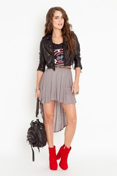 Nasty Gal. I hate the styling of this with the boots and short skirt, but love the hi/low skirt and leather jacket
