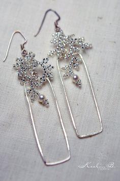 SALE  Sparkling Silver Rectangle Hoop Earrings by KeelinBJewelry, $35.00