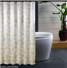 Luxury 180x200cm Extra Long Modern Leaves Weighted Hem Polyester Shower Curtain Leaf Damask 180 X