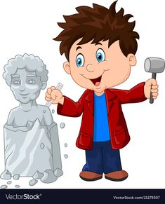Sculptor boy holding chisel and hammer vector image on Preschool Learning Activities, Preschool Art, Community Workers, Bff Drawings, School Clipart, School Decorations, School Pictures, Animated Cartoons, Art Classroom