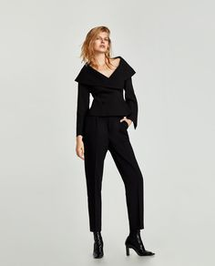 Image 1 of DOUBLE BREASTED V-NECK JACKET from Zara Blazer Jackets For Women, Blazers, Look Casual, Office Outfits, Work Outfits, Zara Women, Fashion 2017, Double Breasted, Work Wear