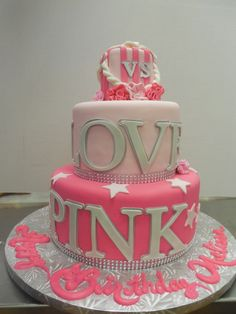 Best Picture of Fondant Birthday Cakes - Pink Cake Decoration Ideen Fondant Girl, Fondant Cakes, Cupcake Cakes, 70th Birthday Cake, Pink Birthday Cakes, 13th Birthday, Birthday Goals, Birthday Parties, Teen Cakes