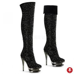 "6"" Stiletto High Heel 1 1/2"" Dual Pewter Chrome Platform Rhinestone Encrusted Womens Suede Thigh High Boots. Available in sizes 5 through 12. These shoes do not come in half sizes. All sizes in stock and ready to ship. Please, add a note to your payment what size you want. We offer free US Domestic Shipping. Many Thanks! SKU: Facinate-3010. Visit OrangeClubwear.com for more! - $340.95 - Powered by Pin2Sell"