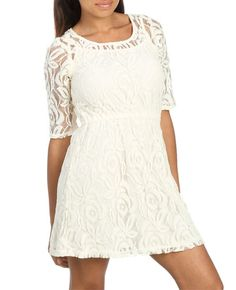 Chunky Lace Skater Dress (Doeskin). Wet Seal. $29.50