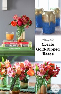 How to Create a Gold-Dipped Vase! (or any color vase to match your theme / decor)