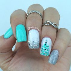 Mint Christmas by @mireyaaxo! Colors colorclubnaillacquer Ming, essiepolish Mint Candy Apple and chinaglazeofficial on White, Nova and Glistening Snow. source