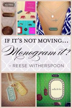 If it's not moving, monogram it! www.stelladot.com/lindseywhitman #monograms #delicates #layers #necklaces #reesewitherspoon