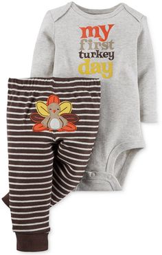 $13.99 Carter's Baby Boy's or Baby Girls' 2-Piece First Thanksgiving Body Suit…