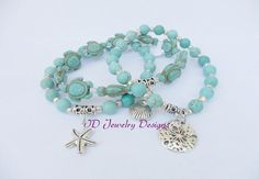 Stackable Boho Turquoise color Howlite Stone by IDJewelryDesigns