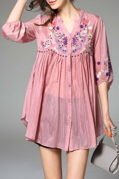 Blacktang Shallow Pink Embroidered Lantern Sleeve Blouse | Blouses at DEZZAL