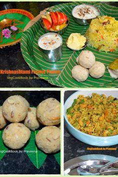Sri Krishnashtami / Janmashtami Nayivedyam Thali / Festive Platter!  #vegcookbookbypraveena #vegan #vegetarian #glutenfree #nayivedyam #festive #indian #platter #thali #recipe #recipes #homemade #healthy #food #recipe #recipes #buzzfeed #thefeed #foodie #janmashtami #srikrishnashtami #thali #bhojan #bhog #bhojanam #traditional #sweets #pics #tips #plan #mealPlan Vegetarian Rice Recipes, Vegan Food, Vegan Vegetarian, Healthy Food, Vegan Recipes, Recipe Without Onion, Food Collage, Indian Kitchen, Garlic Recipes