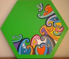 Rainbow of Koru on lime green. Maori Designs, Nz Art, Maori Art, Kiwiana, Pattern Designs, Preschool Crafts, Art School, Home Crafts, Teaching Ideas