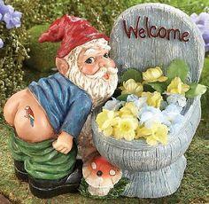 "Rude Mooning Garden Gnome Statue & Toilet Planter w/ Motion Sensor Farting 8""L"
