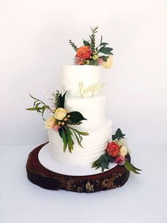 Country Wedding Cake Soft brushed country wedding cake with native Australian Spring foliage & blush roses.