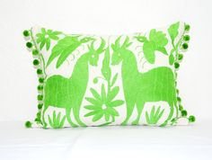 This bright, Otomi pillow cover will make A great addition to your home decor! It is handmade from authentic, Mexican hand embroidered Otomi fabric. We have then paired it with large bright lime green