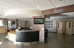 Hampden Pet Hospital Reception. I really like the round reception desk.
