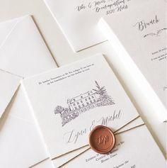 Handgeschepte Huwelijksuitnodigingen - rustig wedding invitaties France