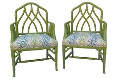 Chair style is nice in a painted color.  Faux-Bamboo  Armchairs, Pair on OneKingsLane.com