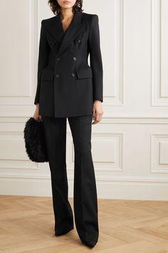 Black Hourglass double-breasted wool-twill blazer | Balenciaga | NET-A-PORTER Balenciaga Clutch, Balenciaga Clothing, Business Chic, Business Fashion, Silhouette, Double Breasted Blazer, Blazer Outfits, Suit Fashion, Luxury Fashion
