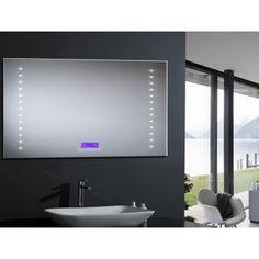 miroir salle de bain avec clairage led et systme antibue haut parleurs bluetooth et radio pour couter la musique - Miroir Salle De Bain Antibuee Radio