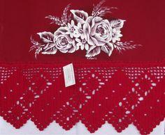 Pano de prato vermelho de algodão, pintado a mão e barrado em croche com linha de algodão. <br> <br>Frete por conta do cliente.