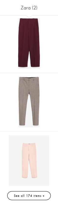 """""""Zara (2)"""" by kenza-26 ❤ liked on Polyvore featuring pants, pantalones, burgundy, high-waisted trousers, high-waist trousers, high rise pants, highwaist pants, high waist pants, capris and sand"""