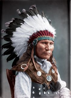 Familiar Faces Given New Life: 20 Amazing Colorized Photos of Native Americans Native American Pictures, Native American Beauty, Native American History, American Indian Tattoos, American Indian Art, American Indians, American Symbols, American Women, Sitting Bull