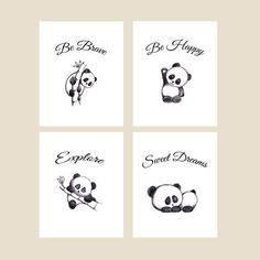 Set of 4 Cute Panda Prints in Size for the Nursery. Sweet Animal Decor for Monochrome Baby Room. Unique Hand Drawn New Baby Gift! Bedroom Themes, Nursery Themes, Nursery Prints, Nursery Room, Baby Room, Panda Decorations, Latest Cartoons, Panda Painting, Panda Nursery