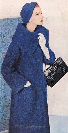 gorgeous 50's Hattie Carnegie wool coat and matching hat in a rich indigo blue