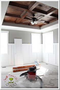 Beautiful coffered ceiling...HOLY  COW that's pretty...and DIY to boot!