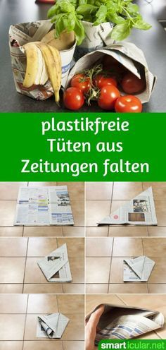 Mülltüten und Einkaufstüten ohne Kleben aus Zeitungspapier falten – mit Video Plastic bags wherever you look: from the vegetable scales, to the cash register, to the garbage bag. We'll show you a trick how to easily replace many bags! Fun Crafts, Diy And Crafts, Recycled Crafts, Diy 2019, Diy Décoration, Green Life, Diy Videos, Zero Waste, Better Life
