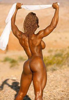 Ebony Muscle Women Nude | Sexy ebony bodybuilder nude in public beach | Nude Muscle Women