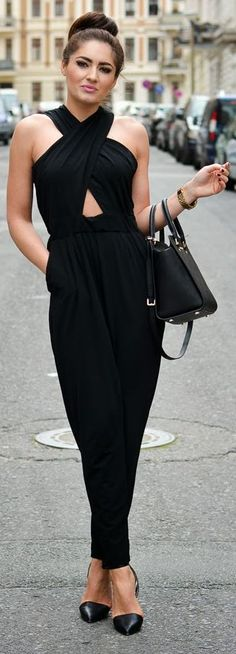 Nelly Black Large Front Crossed Straps Jumpsuit by Stylish !