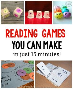 10 Simple to Make Reading Games for Kids. These are great for learning sight words word families and more Love these hands on ideas for Preschool Kindergarten grade grade and grade kids (great with Dolche words in homeschool) Reading Games For Kids, Reading Skills, Teaching Reading, Fun Learning, Learning Activities, Guided Reading, Title 1 Reading, Learning Games For Preschoolers, Early Reading