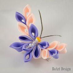 Pinza de pelo mariposa Kanzashi PeachPuff/ciruela por BoArtDesign