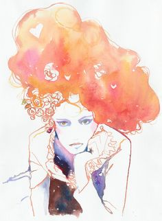"Cate ParrPrint of Watercolour Fashion Illustration 8.5"" x 11"". Titled -  Belle via Etsy."