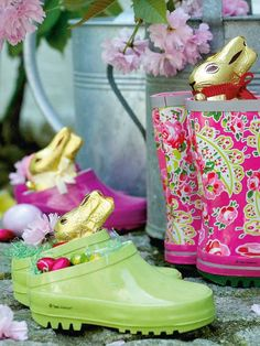 Fun for the kiddos, brightly colored rain boots and clogs as Easter baskets