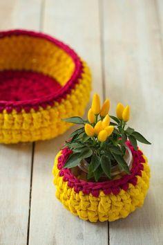 cesta de croche com fio de malha - DIY - artesanato - para vaso