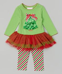 Lime Green Tree Tutu Top & Leggings - Infant, Toddler & Girls by Gerson & Gerson #zulily #zulilyfinds
