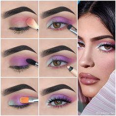 Kylie Jenner Augen Make-up Tutorial! - Make-up Kylie Jenner Makeup Tutorial, Kylie Makeup, Kylie Jenner Makeup Step By Step, Purple Eye Makeup, Colorful Eye Makeup, Purple Makeup Looks, Skin Makeup, Eye Makeup Steps, Makeup Tips